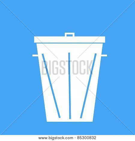 Trash Can On A Blue Background. Vector Illustration.