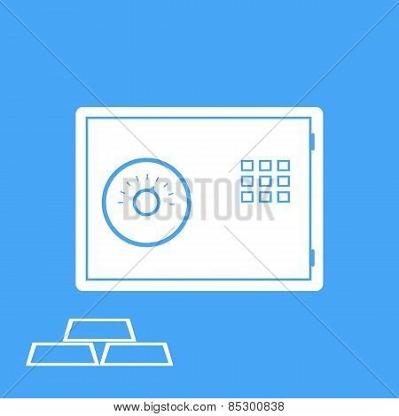 Bank Safe And Gold Bullion. Vector.