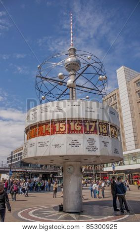 World Clock And Tv Tower In Alexanderplatz