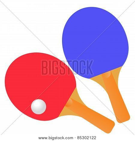 Table Tennis Rackets And Ball On A White Background. Vector Illustration.