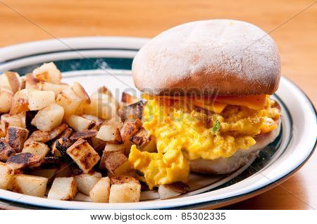 Egg And Cheese, Toasted Bap With Pan Fried Potatoes