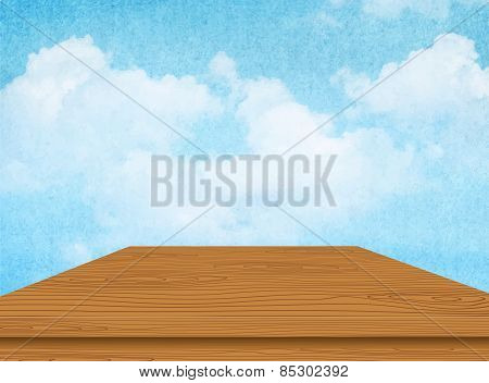 Wooden table with cloud and blue sky. Vector illustration