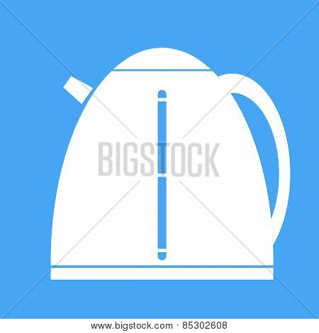 Icon Electric Kettle On Blue Background.