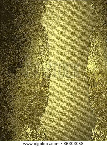Grunge Gold Background With Inset. Design Template