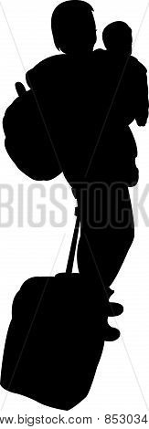 lady with baby, carrying luggage, silhouette vector