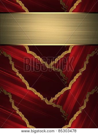 Abstract Red Background With Braided Gold Border With Gold Nameplate. Design Template