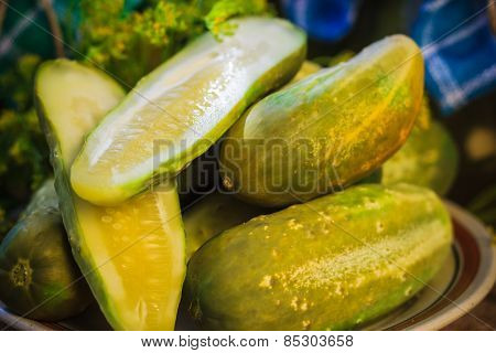 Chopped Pickled Cucumbers Plate Wooden Board