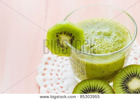 Healthy Diet Fruit Juice Kiwi Wooden Table