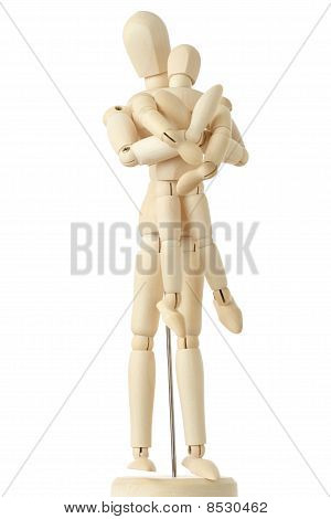 Wooden Figures Of Parent Carring His Child From Back, Full Body, Isolated On White