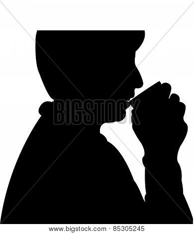 lady drinking water silhouette vector