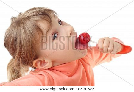 Girl Eating Red Lollipop, Half Body, Looking At Camera, Isolated On White