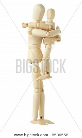 Wooden Figure Of Parent Holding And Embracing His Child, Side Viev, Full Body, Isolated On White