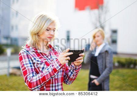 Businesswomen Outdoor Communication