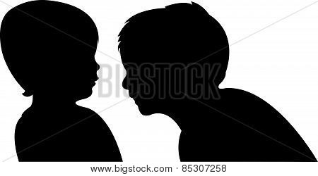communicating babies silhouette vector
