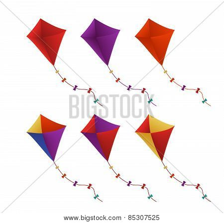 Colorful Flying Kites Set in White Background