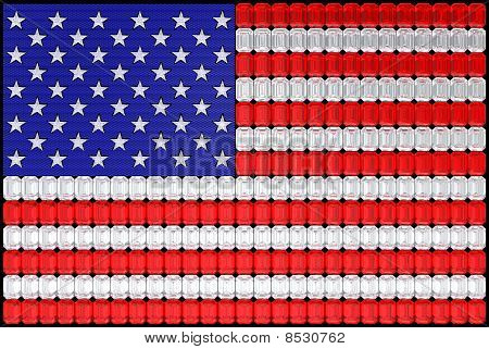 Usa Flag Assembled Of Diamonds