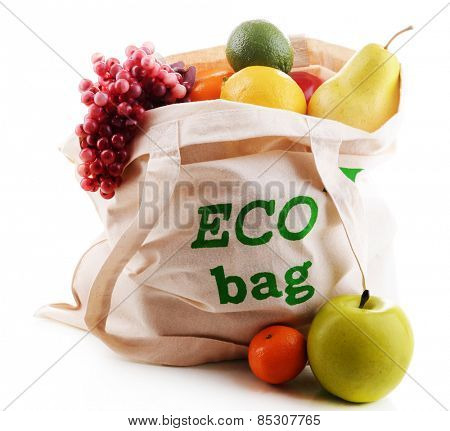 Bag with organic products isolated on white