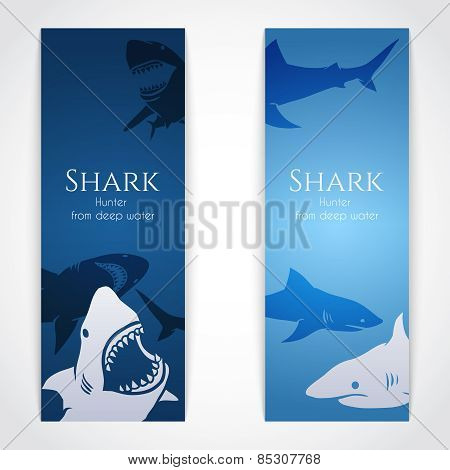 Set of banners with sharks