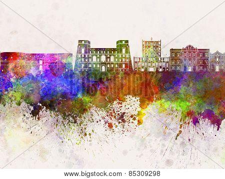 Tarento Skyline In Watercolor Background