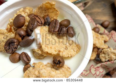 Yogurt With Cereal And Coffee