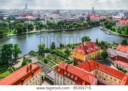 Panorama Of Old Town In Wroclaw