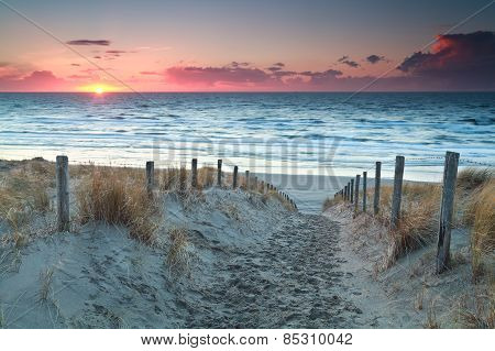Sand Path To North Sea Beach Before Sunset