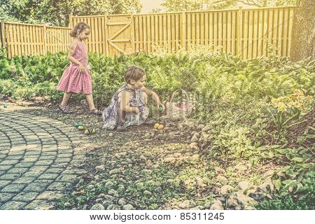 Girls On An Easter Egg Hunt - Retro