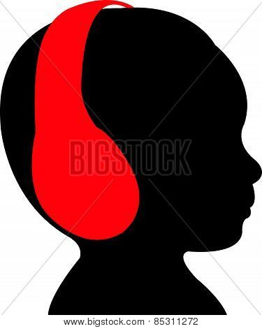 baby head silhouette, vector, listening music
