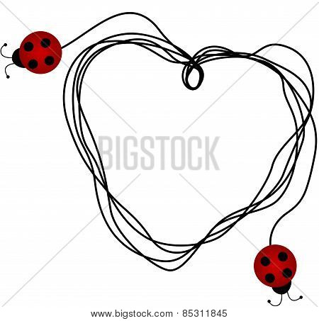 Ladybirds creating a heart with a piece of string