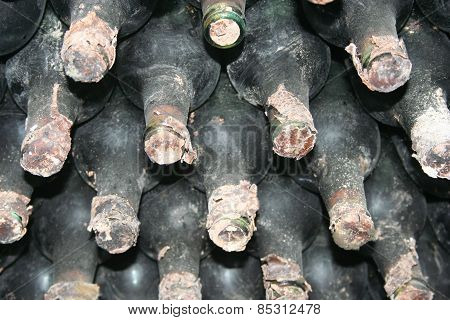 Wine bottles. Photo taken in Moldova, old wine cellar