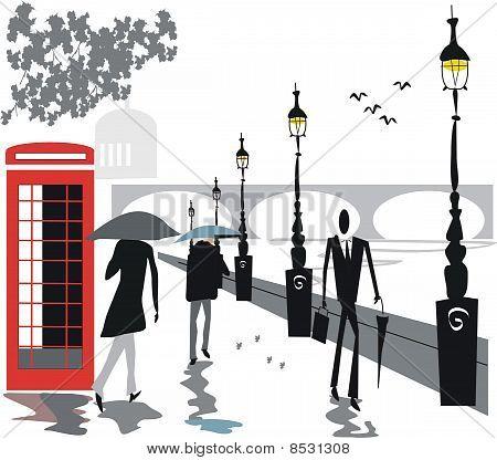 London umbrella illustration