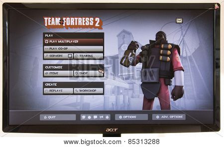 Depew, OK, USA - March 15, 2015: Red Demo on starting screen of Team Fortress 2, a team-based first-person shooter multiplayer video game by Valve Corporation, released on October 10, 2007.