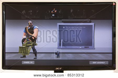 Depew, OK, USA - March 15, 2015: Blue Heavy on class selection screen of Team Fortress 2, a team-based first-person shooter multiplayer video game by Valve Corporation, released on October 10, 2007.