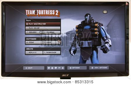 Depew, OK, USA - March 15, 2015: Blu MvM Demo Robot on starting screen of Team Fortress 2, a team-based first-person shooter multiplayer video game by Valve Corporation, released on October 10, 2007.