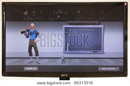 Depew, OK, USA - March 15, 2015: Blue Scout on class selection screen of Team Fortress 2, a team-based first-person shooter multiplayer video game by Valve Corporation, released on October 10, 2007.