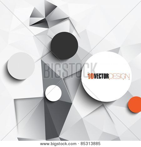 geometric triangular embossed background with blank round frames. eps10 vector