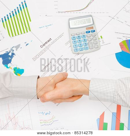 Business Man Working With Financial Data - Shaking Hands Over Contract