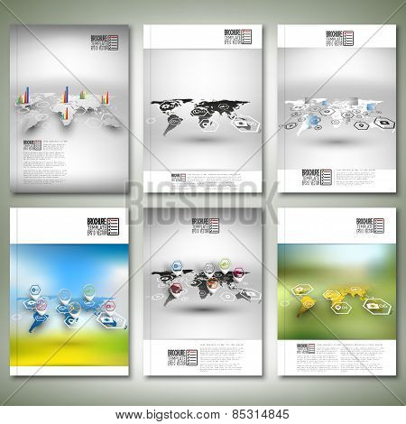 Set of world maps in perspective, blurred infographic vectors. Brochure, flyer or report for busines
