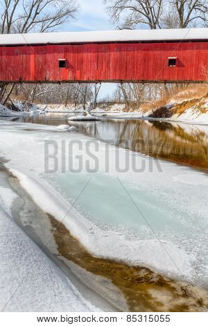 Oakalla Covered Bridge In Winter