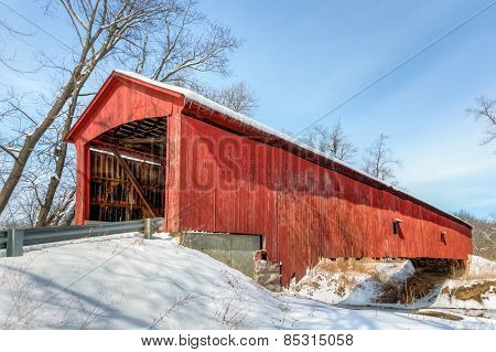 Oakalla Covered Bridge And Snow