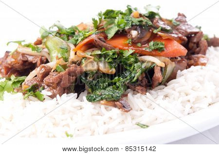Home Made Beef Stir Fry With Flank Steak, Fresh Vegetables And Cilantro