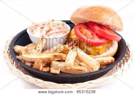 Juicy Hamburger With Hand Cut Fries And Cole Slaw