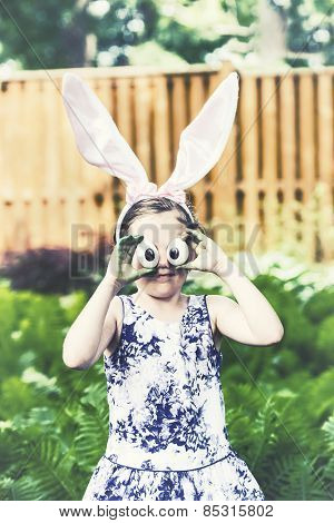 Girl With Bunny Ears And Silly Egg Eyes - Retro