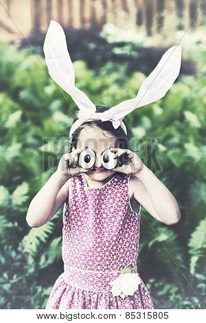 Girl With Bunny Ears And Funny Egg Eyes - Retro