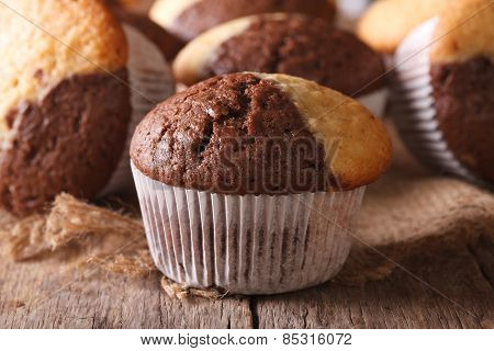 Beautiful Two-tone Chocolate Muffins Close-up, Horizontal