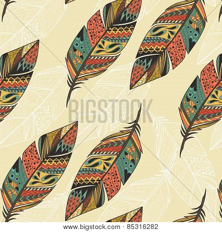 Seamless Pattern With Vintage Tribal Ethnic Hand Drawn Colorful Feathers