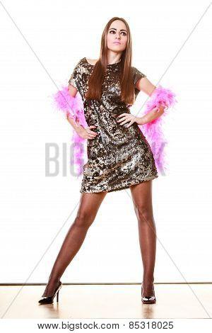 Elegant Woman In Evening Sequin Dress