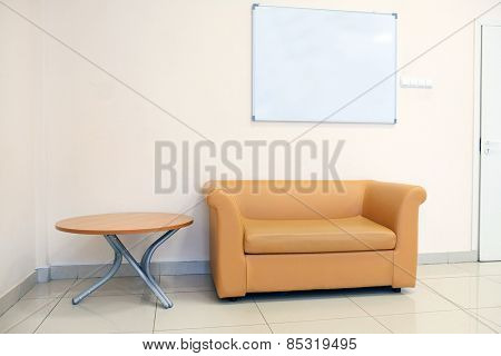 Modern leather sofa and table