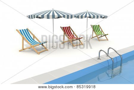 Pool with umbrella and plank bed