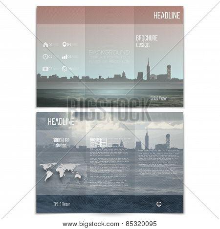 City landscape. Brochure, tri-fold flyer or booklet for business. Modern trendy design vector templa